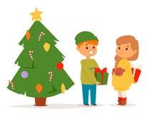 Boże Narodzenia żartują wektorowego charakteru bawić się zim gier zimy dzieci wakacji choinki kreskówki nowego roku xmas dzieciak ilustracja wektor