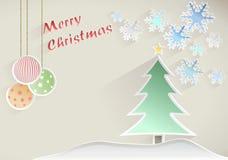 Boże Narodzenia życzą z drzewem, gwiazdą i płatkami śniegu na beżowym tle, Zdjęcia Stock