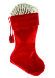 Boże Narodzenia: Bożenarodzeniowa pończocha z pieniądze Zdjęcie Stock