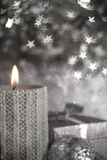 Boże Narodzenia candle z dekoracją Obraz Stock