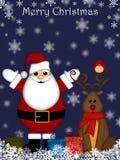 boże narodzenia Claus ostrożnie wprowadzać czerwonego reniferowego Santa Obrazy Royalty Free