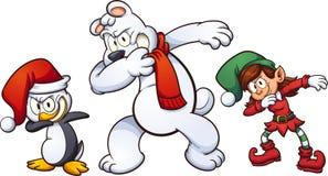 Boże Narodzenia dabbing charaktery ilustracja wektor