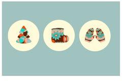boże narodzenia dekorować futerkowe ikony drzewne Zdjęcia Royalty Free