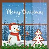 Boże Narodzenia dekorowali okno, z jedlinową girlandą, miodownik Widok Mroźny w Santa kapeluszu z gilem Uśmiechnięty bałwan ilustracja wektor