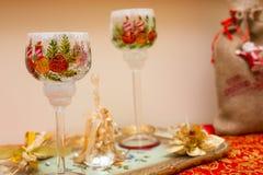 Boże Narodzenia dekorowali szkła Zdjęcia Stock