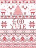 Boże Narodzenia deseniują bóg Yule bezszwowego wzór inspirującego Północnej kultury świąteczną zimą w przecinającym ściegu z serc royalty ilustracja