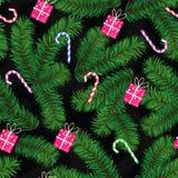 Boże Narodzenia deseniują robią jedlinowe kończyny, prezenty i cukierki, Royalty Ilustracja