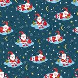boże narodzenia deseniują Santa bezszwowego Zdjęcia Royalty Free