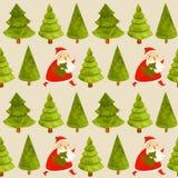 Boże Narodzenia deseniują set z drzewem i Santa royalty ilustracja