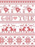 Boże Narodzenia deseniują Wesoło boże narodzenia w Norweskiego bóg Yule bezszwowym wzorze inspirującym Północnej kultury świątecz ilustracji