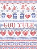 Boże Narodzenia deseniują Wesoło boże narodzenia w Norweskiego boga Yule bezszwowym wzorze inspirującym Północnej kultury świątec ilustracja wektor