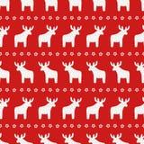 Boże Narodzenia deseniują - Xmas gwiazda na czerwonym tle i renifer royalty ilustracja