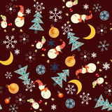 Boże Narodzenia deseniują z bałwanem Royalty Ilustracja