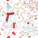 Boże Narodzenia deseniują z bałwanem, choinka, powitanie Obrazy Stock
