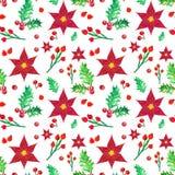 Boże Narodzenia deseniują z czerwonymi poinsecja kwiatami i uświęconymi jagodami na białym tle, ręka malująca akwareli ilustracja ilustracja wektor