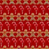 Boże Narodzenia deseniują z imbirowym mężczyzna bezszwowym Zdjęcia Royalty Free
