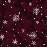 Boże Narodzenia deseniują z jedlinowymi łapami i płatkami śniegu Ilustracja Wektor