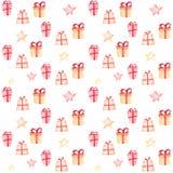 Boże Narodzenia deseniują z prezentami i gwiazdami na białym tle ilustracja wektor