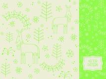 Boże Narodzenia deseniują z rogaczem, choinką i płatkami śniegu, Fotografia Royalty Free