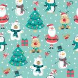 Boże Narodzenia deseniują z Santa, drzewo, niedźwiedź polarny bałwan, rogacze i pingwin, , ilustracja wektor