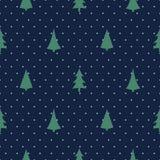 Boże Narodzenia deseniują z Xmas drzewami na polek kropek tle royalty ilustracja