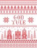 Boże Narodzenia deseniują z zimy krainy cudów wioski bóg Yule bezszwowym wzorem inspirującym Północnej kultury świąteczną zimą royalty ilustracja