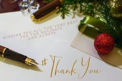 Boże Narodzenia Dziękują Was Karcianych z hashtag Obraz Stock