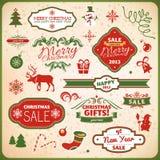 Boże Narodzenia i nowego roku dekoraci elementy ilustracja wektor