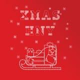 Boże Narodzenia i nowego roku kartka z pozdrowieniami szablony Wsad prezenta pudełko na saneczki Czerwona wersja Obrazy Royalty Free