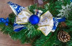 Boże Narodzenia i nowego roku koloru błękitna dekoracja Zdjęcie Royalty Free