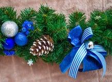 Boże Narodzenia i nowego roku koloru błękitna dekoracja Obraz Royalty Free