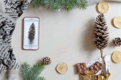 Boże Narodzenia i nowego roku mieszkania nieatutowy tło z kopii przestrzenią Fotografia Stock