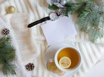 Boże Narodzenia i nowego roku mieszkania nieatutowy tło z pustą powitanie notatką Fotografia Stock