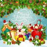 Boże Narodzenia i nowego roku plakat Xmas wakacyjny prezent ilustracji