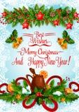 Boże Narodzenia i nowego roku plakat z Xmas girlandą ilustracji