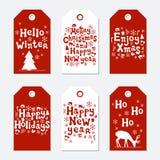 Boże Narodzenia i nowego roku prezenta etykietki Grępluje xmas set Ręka rysujący elementy Kolekcja wakacje papieru etykietka w cz Fotografia Stock