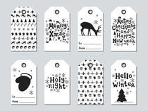 Boże Narodzenia i nowego roku prezenta etykietki Grępluje xmas set Ręka rysujący elementy Kolekcja wakacje papieru etykietka w cz royalty ilustracja