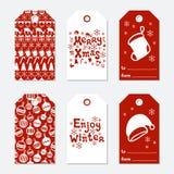 Boże Narodzenia i nowego roku prezenta etykietki Grępluje xmas ustawiającego z ręka rysunkowymi elementami Kolekcja wakacje papie Zdjęcie Royalty Free
