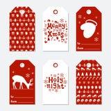 Boże Narodzenia i nowego roku prezenta etykietki Grępluje xmas ustawiającego z ręka rysunkowymi elementami Kolekcja wakacje papie Zdjęcia Stock