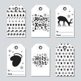 Boże Narodzenia i nowego roku prezenta etykietki Grępluje xmas ustawiającego z ręka rysunkowymi elementami Kolekcja wakacje papie Fotografia Stock