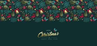 Boże Narodzenia i nowego roku rocznika ornamentu złocista karta ilustracji