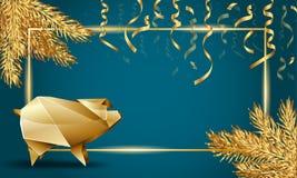 Boże Narodzenia i nowego roku szablonu tło z Złotymi Jedlinowymi gałąź, Złotą świnią I serpentyną, royalty ilustracja