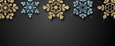 Boże Narodzenia i nowego roku sztandar z złotem i błękitnym błyszczącym płatek śniegu ilustracja wektor