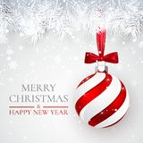 Boże Narodzenia i nowego roku tło z boże narodzenie piłką, jodły gałąź i śniegiem dla xmas projekta, również zwrócić corel ilustr ilustracji