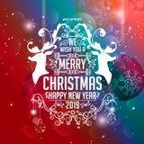 Boże Narodzenia i nowego roku Typographical życzenie szczęśliwy nowy rok na błyszczącym Bożenarodzeniowym tle ilustracji