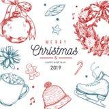 Boże Narodzenia i nowego roku wektorowy plakat, sztandar, tło z roczników ręka rysującymi elementami ilustracji