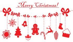 Boże Narodzenia i nowy rok dekoraci czerwony obwieszenie na arkanie Wektorowe ilustracje odizolowywać na bielu Obraz Stock