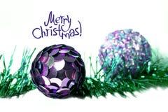 Boże Narodzenia i nowy rok dekoracje z inskrypcją szczęśliwi boże narodzenia Fotografia Stock