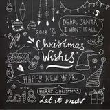 Boże Narodzenia i nowy rok Doodles set obraz royalty free