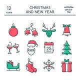 Boże Narodzenia i nowy rok ikony robić w nowożytnym kreskowym stylu royalty ilustracja